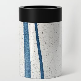 Parallel Universe [vertical]: a pretty, minimal, abstract piece in lines of vibrant blue and white Can Cooler