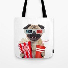 Pug watching a movie Tote Bag