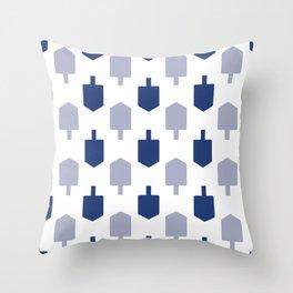 Blue Dreidels on white background for Hanukkah Throw Pillow