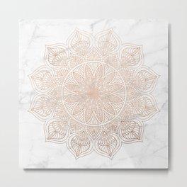 Mandala - rose gold and white marble 4 Metal Print