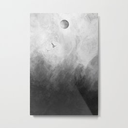 Full Moon Solstice: Abstract Black and White Metal Print