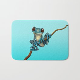 Cute Blue Tree Frog on a Branch Bath Mat