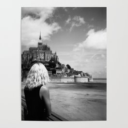 Girl Looking Upon Mont Saint-Michel in Normandy, France Poster