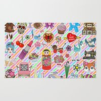stickers Area & Throw Rugs featuring I Love Stickers by Jade Boylan