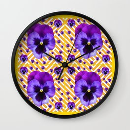 PURPLE PANSIES  FLOWERS & YELLOW PATTERNS  ART Wall Clock