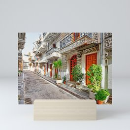 Traditional houses in the medieval mastic village of Pyrgi on the island of Chios, Greece Mini Art Print