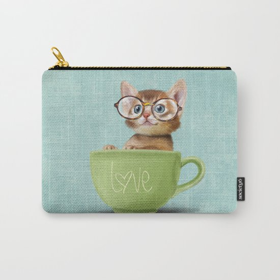 Kitten with glasses Carry-All Pouch