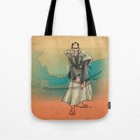 samurai Tote Bags featuring Samurai by David Finley