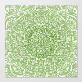 Olive Lime Green Mandala Detailed Ethnic Tribal Pattern Canvas Print