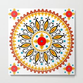 Mandala warm colour pallette Metal Print