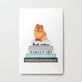 Pom, pomeranian, Books, Fashion books, Teal, Fashion, Fashion art, fashion poster Metal Print