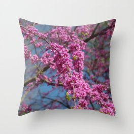 Blue skies and redbud in spring Throw Pillow