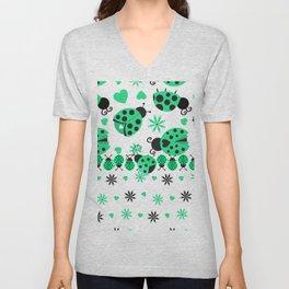 Cute Ladybugs green Unisex V-Neck