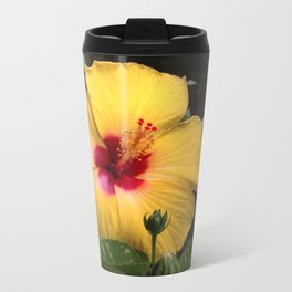 Habiscus yellow flower power Metal Travel Mug