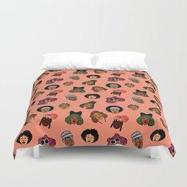 Black Hair Magic (Coral) Duvet Cover