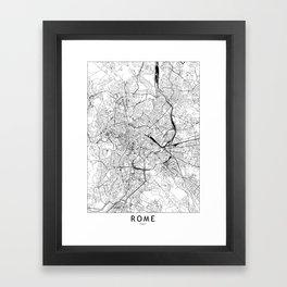 Rome White Map Framed Art Print