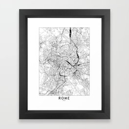 Rome White Map Framed Art Print