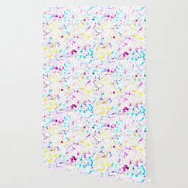 psychedelic geometric square pattern abstract background in pink blue yellow Wallpaper