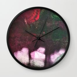 What's In The Forest? Forest, Abstract, Painting, Jodilynpaintings. Red, Green. Wall Clock