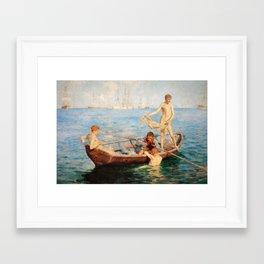 """""""August Blue"""" by Henry Scott Tuke (1893) Framed Art Print"""