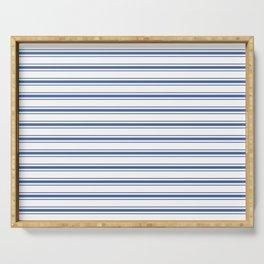 Mattress Ticking Wide Horizontal Stripe in Dark Blue and White Serving Tray