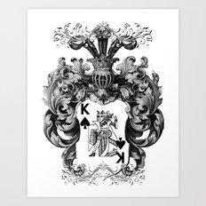 Poker King Spades black and white Art Print