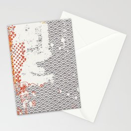 Crayon Bright Grey Geometric Shabby Abstract Collage Print Stationery Cards