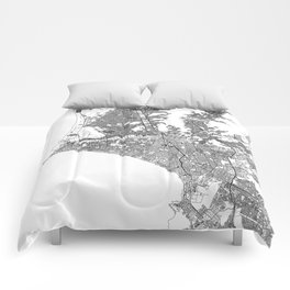 Lima White Map Comforters