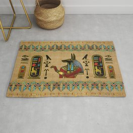 Egyptian Anubis Ornament on papyrus Rug