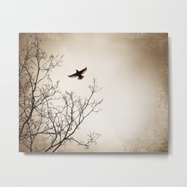 Bird Flying Tree Photography, Brown Nature Branches, Birds Fly Trees Metal Print