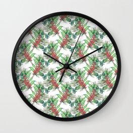 Cute Watercolor Winter Green Foliage red berries Wall Clock