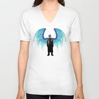 castiel V-neck T-shirts featuring Castiel  by Ludwig Van Bacon
