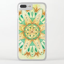 Simple Green/Yellow Mandala Clear iPhone Case