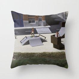 Miniature skatepark Throw Pillow