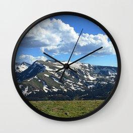 Watercolor Landscape, Trail Ridge Road 06, RMNP, Colorado Wall Clock