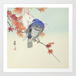 Two pigeons on autumn branch by Ohara Koson, 1900 Art Print