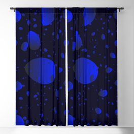 Large sea drops and petals on a blue background in nacre. Blackout Curtain