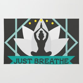 New Age Zen Yoga Lover Just Breathe Stretching Lotus Rug