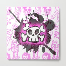 Pink Cartoon Skull Metal Print
