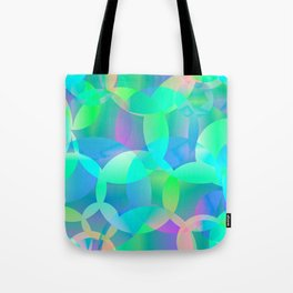 Abstract soap of blue molecules and bubbles on a shiny background. Tote Bag
