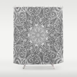 Gray Center Swirl Mandala Shower Curtain