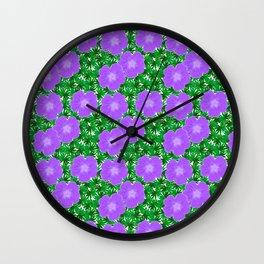 Purple Geranium Pattern Wall Clock