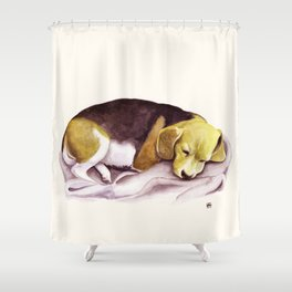 Beagle Watercolor Painting Shower Curtain