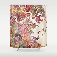 boston map Shower Curtains featuring Boston by MapMapMaps.Watercolors