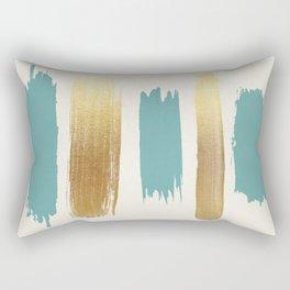 Brush Strokes (Teal/Gold) Rectangular Pillow