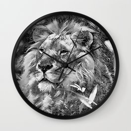 AnimalArtBW_Lion_20170605_by_JAMColorsSpecial Wall Clock