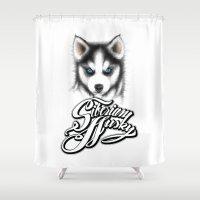 husky Shower Curtains featuring Siberian Husky by Det Tidkun
