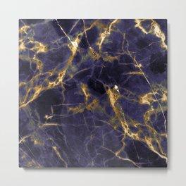 Majesty Purple Marble With 24-Karat Gold Hue Veins Metal Print