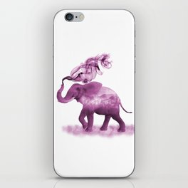Dark Pink Smoky Clouded Elephant iPhone Skin