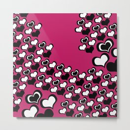 Pink, Black, and White Hearts Metal Print